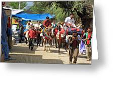People On Horseback And On Foot Making The Climb To The Vaishno Devi Shrine In India Greeting Card