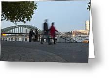People Walk Along The Rhine River Greeting Card