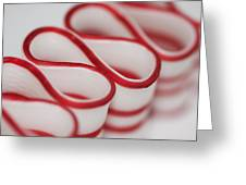 Peppermint Christmas Ribbons Greeting Card