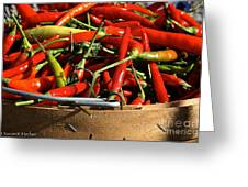 Peppers And More Peppers Greeting Card by Susan Herber