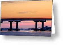 Perdido Bridge Sunrise Closeup Greeting Card