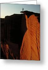 Person Standing Atop The Kings Canyon Greeting Card
