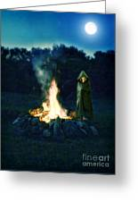 Person Standing By A Bonfire In The Moonlight Greeting Card