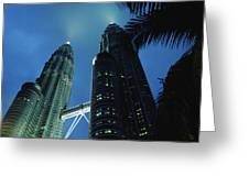 Petronas, Twin Towers At Night, Low Greeting Card