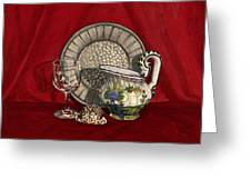 Pewter Dish With Red Cloth. Greeting Card
