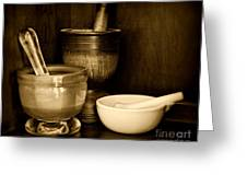 Pharmacy - Mortars And Pestles - Black And White Greeting Card