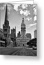 Philadelphia City Hall Bw Greeting Card