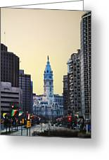 Philadelphia Cityhall At Dawn Greeting Card by Bill Cannon