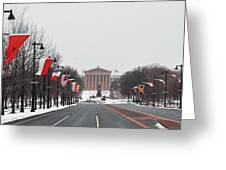 Philadelphia Parkway In The Snow Greeting Card