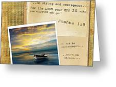 Photo Of Boat On The Sea With Bible Verse Greeting Card