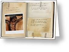Photo Of Crucifix With Bible Verses. Greeting Card