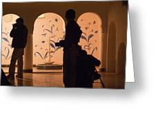 Photographers In Silhouette At A Heritage Building In Rajasthan In India Greeting Card