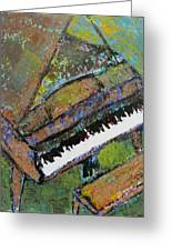 Piano Aqua Wall - Cropped Greeting Card by Anita Burgermeister