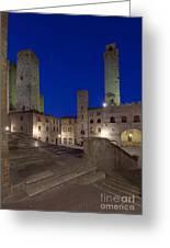 Piazza Duomo At Dusk Greeting Card