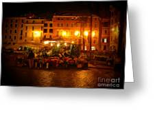 Piazza Flower Vendor Greeting Card