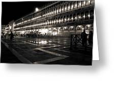 Piazza San Marco At Night Venice Greeting Card
