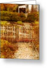 Picket Fence And Cottage Greeting Card
