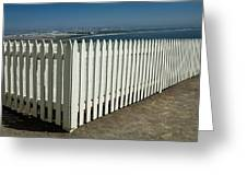 Picket Fence By The Cabrillo National Monument Lighthouse In San Diego Greeting Card