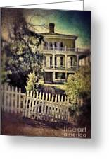 Picket Gate To Large House Greeting Card