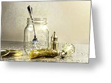 Pickle With A Jar And Antique Salt And Pepper Shakers Greeting Card by Sandra Cunningham