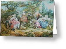 Picnic In France Tapestry Greeting Card by Unique Consignment