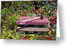 Picnic Table Among The Flowers Greeting Card