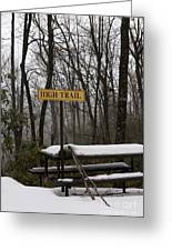 Picnic Table In Snow Greeting Card by Will and Deni McIntyre