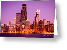 Picture Of Chicago Skyline By Night Greeting Card