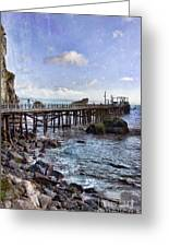 Pier Along Rocky Shore Greeting Card