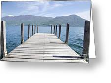Pier And Snow-capped Mountain Greeting Card