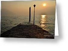 Pier And Sunset Greeting Card