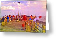 Pier Fishing Greeting Card