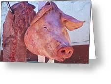 Pig In The Market Greeting Card
