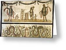 Pig Sacrifice, Roman Fresco Greeting Card by Sheila Terry