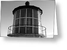 Pigeon Point Lighthouse Beacon - Black And White Greeting Card