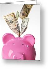 Piggy Bank And Us Dollars Greeting Card by Tek Image