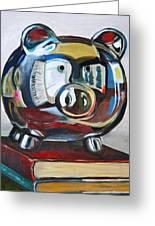 Piggy On Books Greeting Card