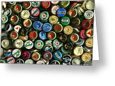 Pile Of Beer Bottle Caps . 8 To 10 Proportion Greeting Card