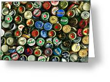 Pile Of Beer Bottle Caps . 9 To 12 Proportion Greeting Card