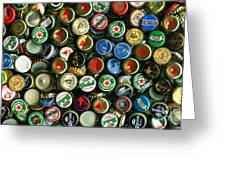 Pile Of Beer Bottle Caps . 9 To 16 Proportion Greeting Card