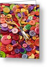 Pile Of Buttons With Scissors  Greeting Card by Garry Gay