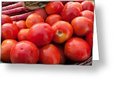 Pile Of Red Luscious Tomatoes Along With Carrots On A Vegetable Basket Greeting Card