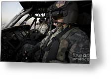 Pilot In The Cockpit Of A Uh-60l Greeting Card