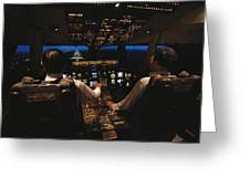 Pilots In The Cockpit Of An Aircraft Greeting Card