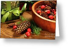 Pine Branches With Gift Tag  Greeting Card by Sandra Cunningham