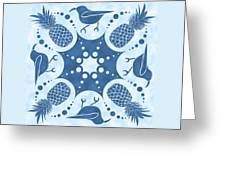 Pineapple And IIwi Hawaiian Quilt Block Greeting Card