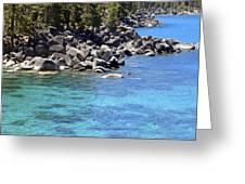 Pines Boulders And Crystal Waters Of Lake Tahoe Greeting Card