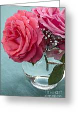 Pink And Aqua Roses Greeting Card