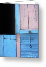 Pink And Blue Shutters Barahona Dominican Republic Greeting Card