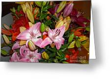 Pink And Color Lilies Greeting Card